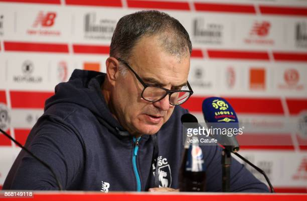 Coach of Lille OSC Marcelo Bielsa answers to the media following the French Ligue 1 match between Lille OSC and Olympique de Marseille at Stade...