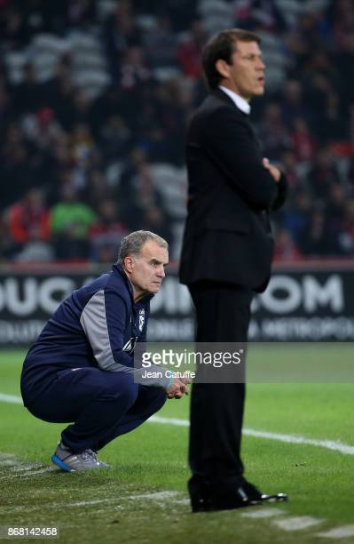 Coach of Lille OSC Marcelo Bielsa coach of OM Rudi Garcia during the French Ligue 1 match between Lille OSC and Olympique de Marseille at Stade...