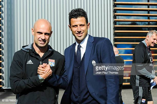 CRIS coach of Lyon and Fabio GROSSO coach of Juventus during the Youth League match between Lyon and Juventus at Plaine des Jeux de Gerland on...