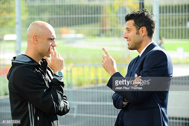CRIS coach of lyon and Fabio GROSSO of Juventus during the Youth League match between Lyon and Juventus at Plaine des Jeux de Gerland on October 18...