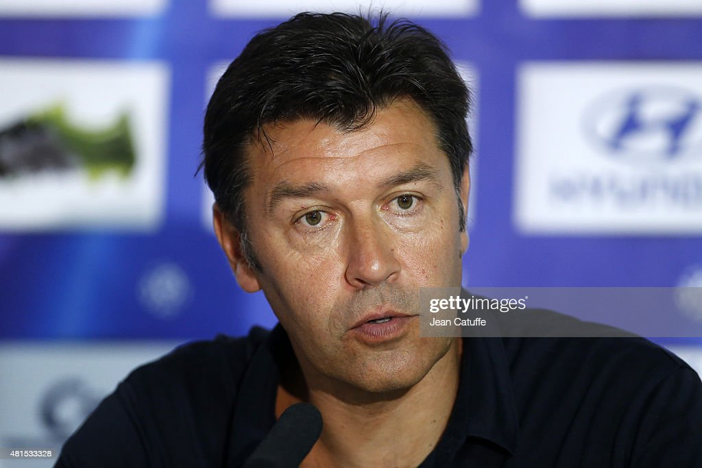 Coach of Lyon Hubert Fournier answers to the media following the friendly match between Olympique Lyonnais (OL) and AC Milan (Milan AC) at Stade de Gerland on July 18, 2015 in Lyon, France.