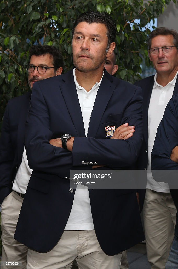 Coach of Lyon Hubert Fournier looks on during a ceremony presenting the 2015 Trophee des Champions between Paris Saint-Germain (PSG) and Olympique Lyonnais (OL) at Montreal City Hall on July 31, 2015 in Montreal, Quebec, Canada.