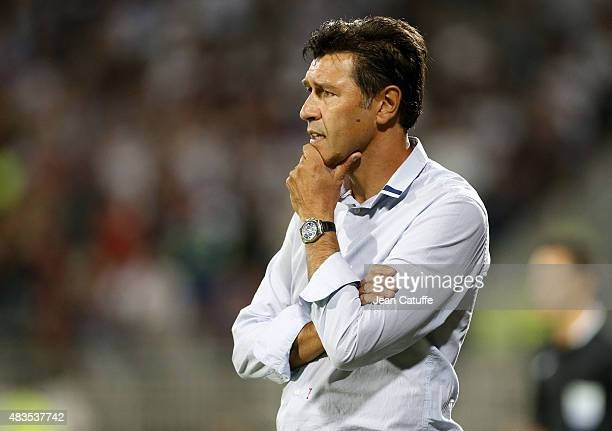 Coach of Lyon Hubert Fournier looks on during the French Ligue 1 match between Olympique Lyonnais and FC Lorient at Stade de Gerland on August 9 2015...