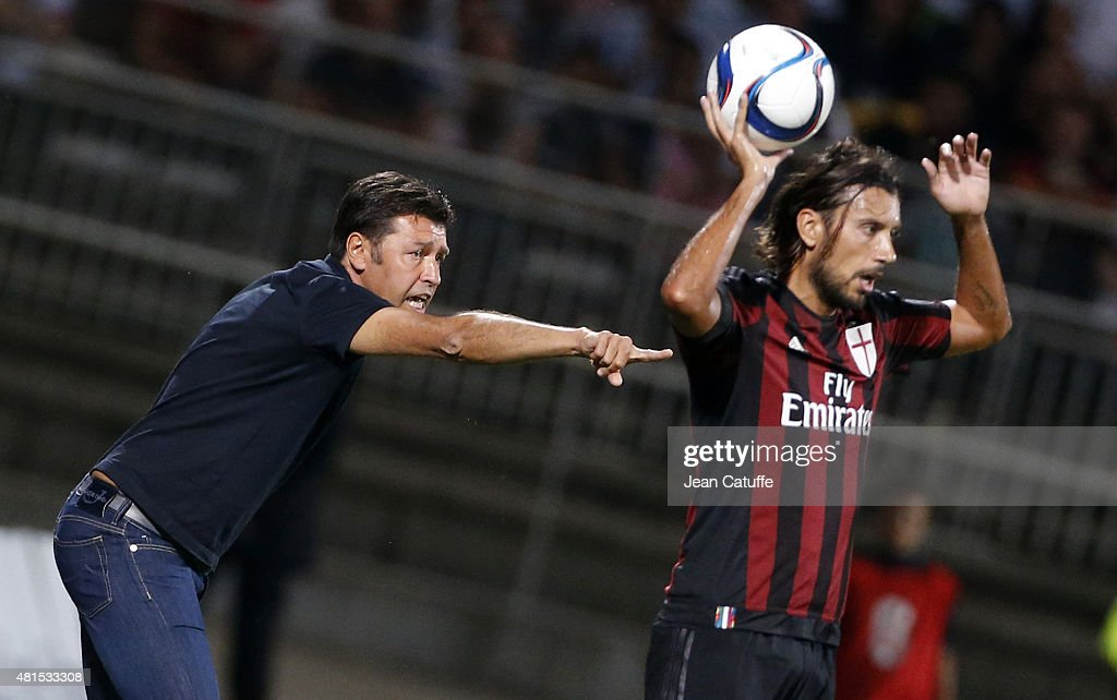 Coach of Lyon Hubert Fournier reacts during the friendly match between Olympique Lyonnais (OL) and AC Milan (Milan AC) at Stade de Gerland on July 18, 2015 in Lyon, France.