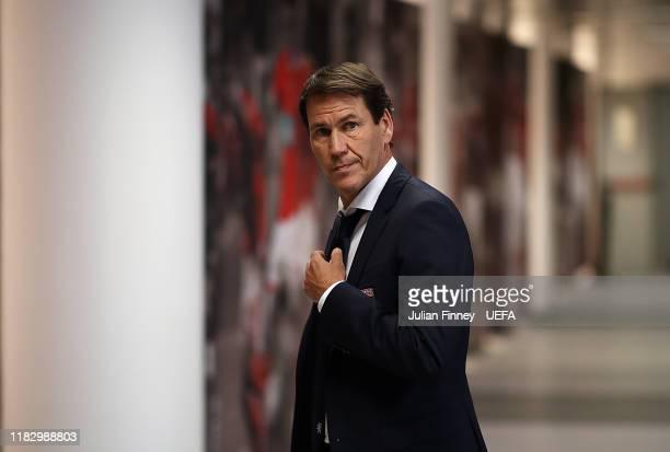 Coach of Lyon Rudi Garcia arrives before the UEFA Champions League group G match between SL Benfica and Olympique Lyon at Estadio da Luz on October...