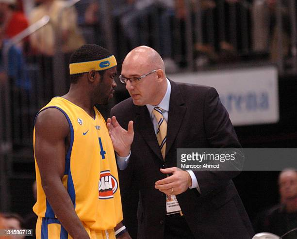 Coach of Macabbi Tel Avic Neven Spahija talks a play over with guard Will Bynum during the NBA Europe Live Tour presented by EA Sports on October 10...