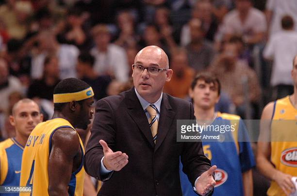 Coach of Macabbi Tel Aviv Nevan Spahija reacts to a call during the NBA Europe Live Tour presented by EA Sports on October 10 2006 at the Koeln Arena...