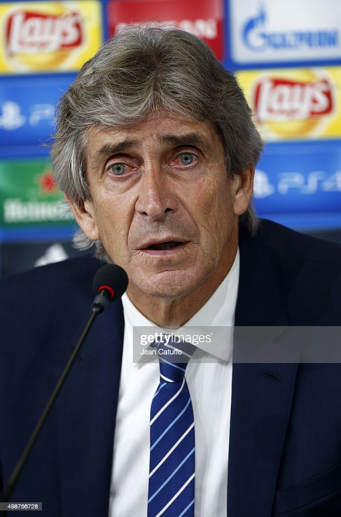 Coach of Manchester City Manuel Pellegrini answers to the media following the UEFA Champions League match between Juventus Turin and Manchester City FC at Juventus Stadium on November 25, 2015 in Turin, Italy.