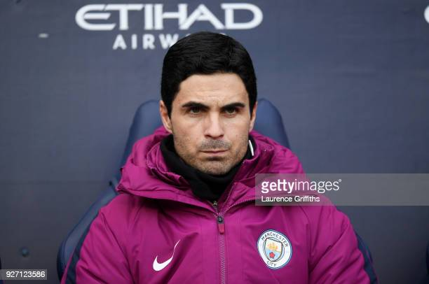 Coach of Manchester City Mikel Arteta looks on during the Premier League match between Manchester City and Chelsea at Etihad Stadium on March 4 2018...