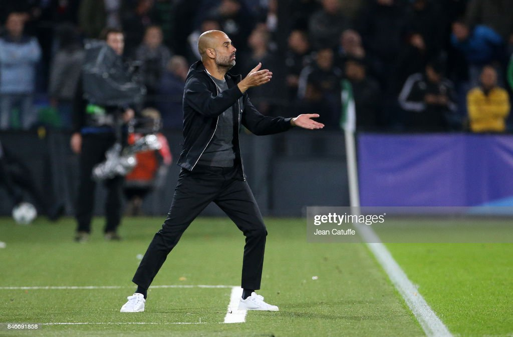 Coach of Manchester City Pep Guardiola during the UEFA Champions League match between Feyenoord Rotterdam and Manchester City at Stadion Feijenoord on September 13, 2017 in Rotterdam, Netherlands.