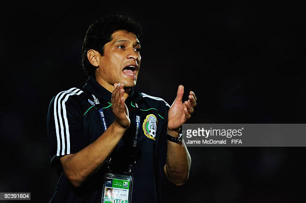 Coach of Mexico Jose Luis Gonzalez gives instructions uring the FIFA U17 World Cup match between Brazil and Mexico at the Teslim Balogun Stadium on...