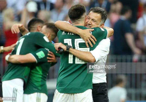 Coach of Mexico Juan Carlos Osorio and Hector Herrera celebrate the victory following the 2018 FIFA World Cup Russia group F match between Germany...