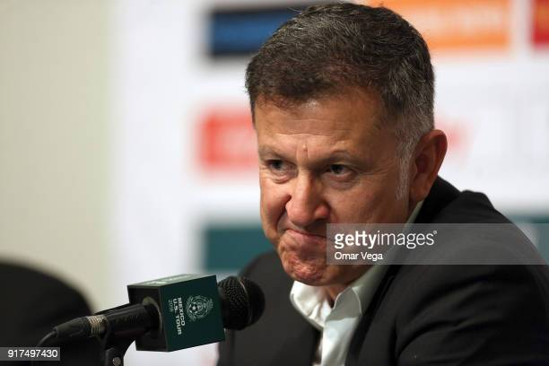 Coach of Mexico Juan Carlos Osorio speaks during a press conference as part of Mexico US Tour 2018 on February 12 2018 in Arlington Texas