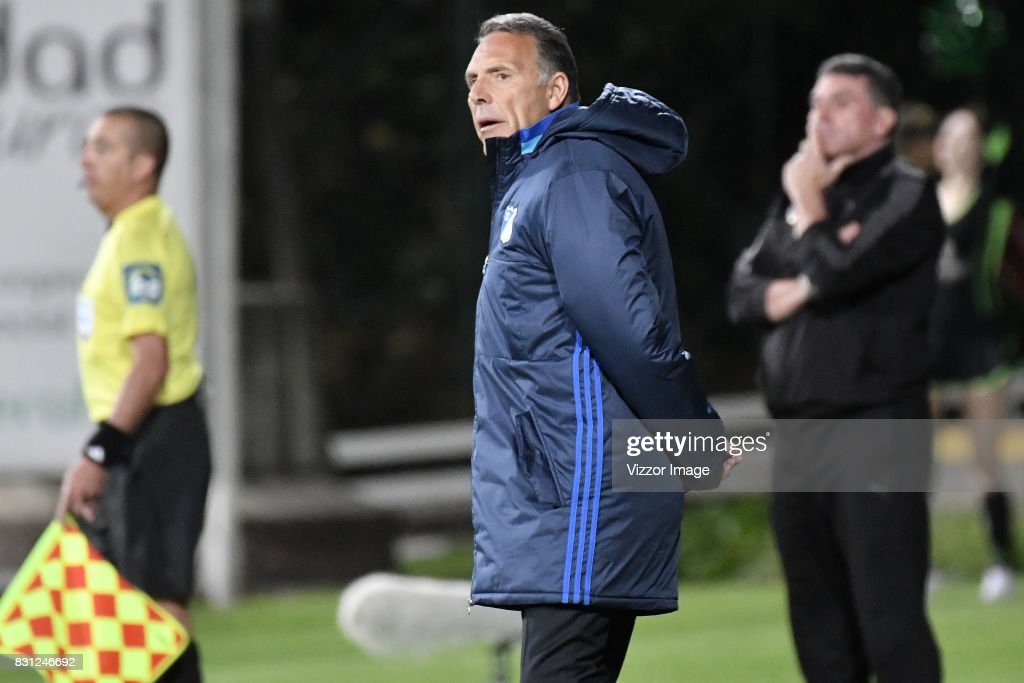 Coach of Millonarios Miguel Angel Russo looks on during a match between La Equidad and Millonarios as part of round 7 of Liga Aguila II at Estadio Metropolitano de Techo on August 12, 2017 in Bogota, Colombia.