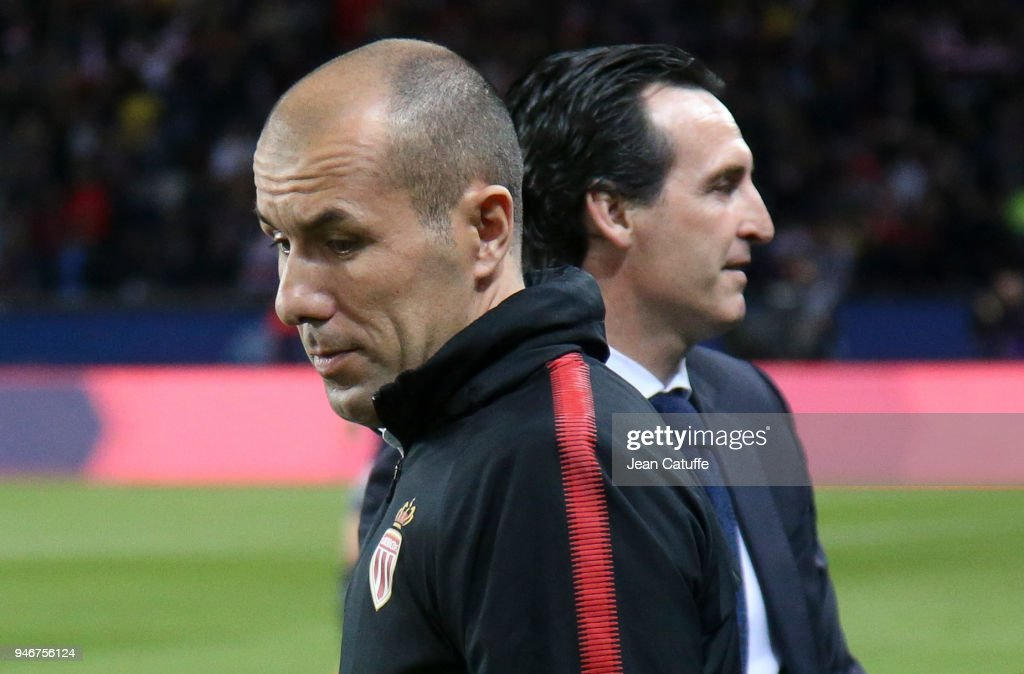 Coach of Monaco Leonardo Jardim and coach of PSG Unai Emery before the Ligue 1 match between Paris Saint Germain (PSG) and AS Monaco (ASM) at Parc des Princes stadium on April 15, 2018 in Paris, .