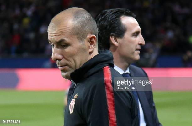 Coach of Monaco Leonardo Jardim and coach of PSG Unai Emery before the Ligue 1 match between Paris Saint Germain and AS Monaco at Parc des Princes...