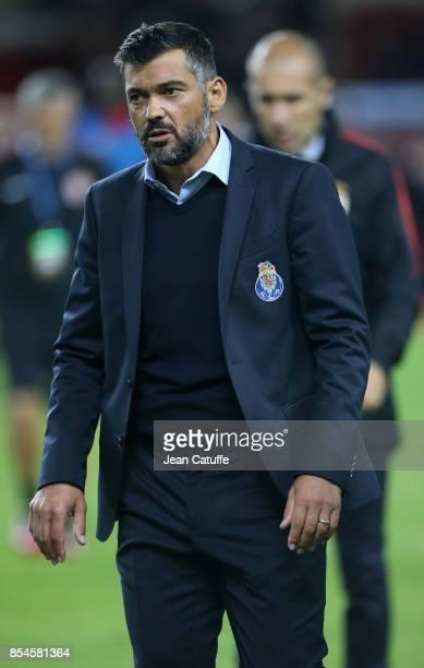 Coach of Monaco Leonardo Jardim coach of FC Porto Sergio Conceicao during the UEFA Champions League group G match between AS Monaco and FC Porto at...