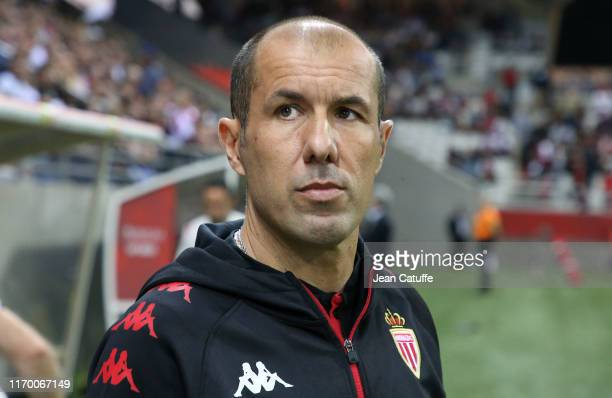 Coach of Monaco Leonardo Jardim during the Ligue 1 match between Stade de Reims and AS Monaco at Stade Auguste Delaune on September 21, 2019 in...