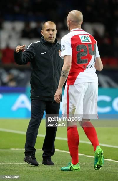 Coach of Monaco Leonardo Jardim greets Andrea Raggi when he's replaced during the French Cup semifinal match between Paris SaintGermain and AS Monaco...