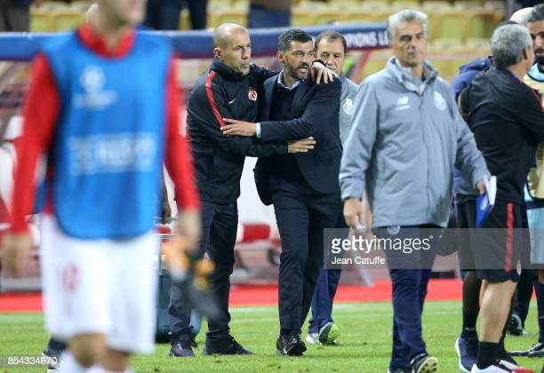 Coach of Monaco Leonardo Jardim greets coach of FC Porto Sergio Conceicao following the UEFA Champions League group G match between AS Monaco and FC...