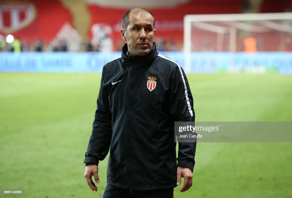 Coach of Monaco Leonardo Jardim looks on following the French Ligue 1 match between AS Monaco and AS Saint-Etienne (ASSE) at Stade Louis II on May 17, 2017 in Monaco, Monaco.