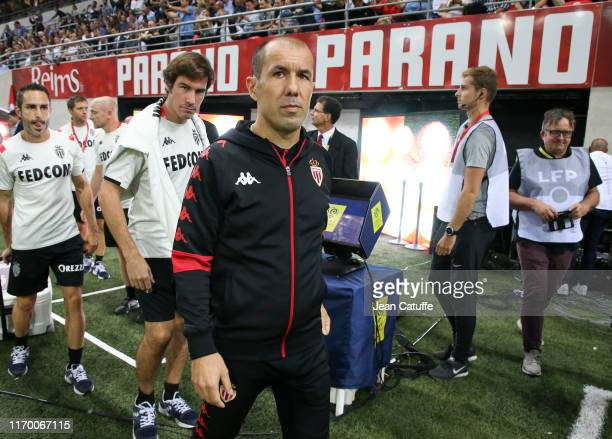 Coach of Monaco Leonardo Jardim walks on the side line during the Ligue 1 match between Stade de Reims and AS Monaco at Stade Auguste Delaune on...