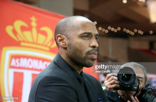 Coach of Monaco Thierry Henry during the french Ligue 1 match between AS Monaco and Paris SaintGermain at Stade Louis II on November 11 2018 in...