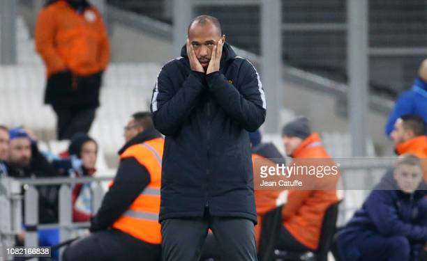 Coach of Monaco Thierry Henry during the french Ligue 1 match between Olympique de Marseille and AS Monaco at Stade Velodrome on January 13, 2019 in...