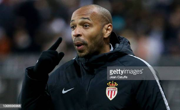 Coach of Monaco Thierry Henry during the Ligue 1 match between Amiens SC and AS Monaco at Stade de la Licorne on December 4 2018 in Amiens France