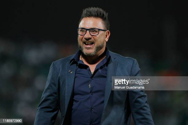 Coach of Monterrey Antonio Mohamed celebrates after the quarterfinals second leg match between Santos Laguna and Monterrey as part of the Torneo...