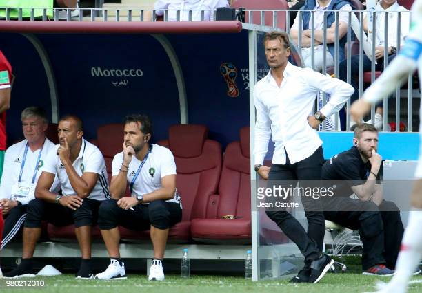 Coach of Morocco Herve Renard and his assistant Patrice Beaumelle during the 2018 FIFA World Cup Russia group B match between Portugal and Morocco at...