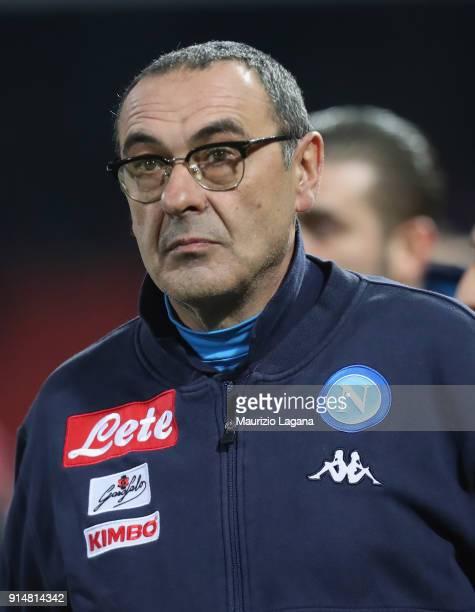 Coach of Napoli Maurizio Sarri during the serie A match between Benevento Calcio and SSC Napoli at Stadio Ciro Vigorito on February 4 2018 in...