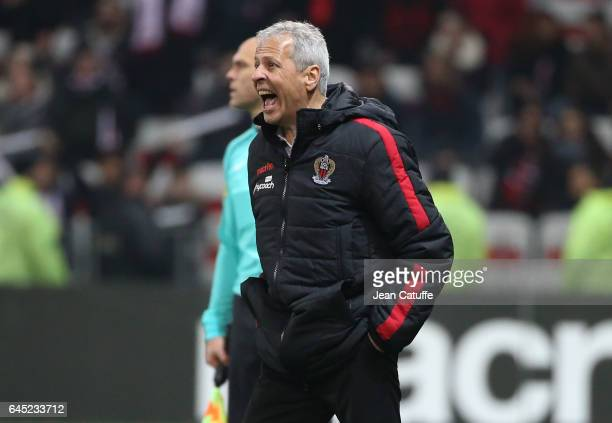 Coach of Nice Lucien Favre screams during the French Ligue 1 match between OGC Nice and Monptellier Herault SC at Allianz Riviera stadium on February...