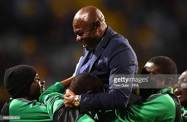 Coach of Nigeria Emmanuel Amuneke celebrates after the FIFA U-17 World Cup Chile 2015 final match between Mali and Nigeria at Estadio Sausalito on...