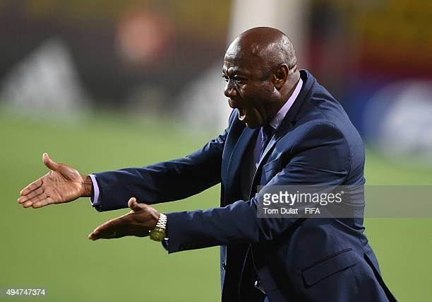 Coach of Nigeria Emmanuel Amuneke gives instructions during the FIFA U-17 Men's World Cup 2015 round of 16 match between Nigeria and Australia at...