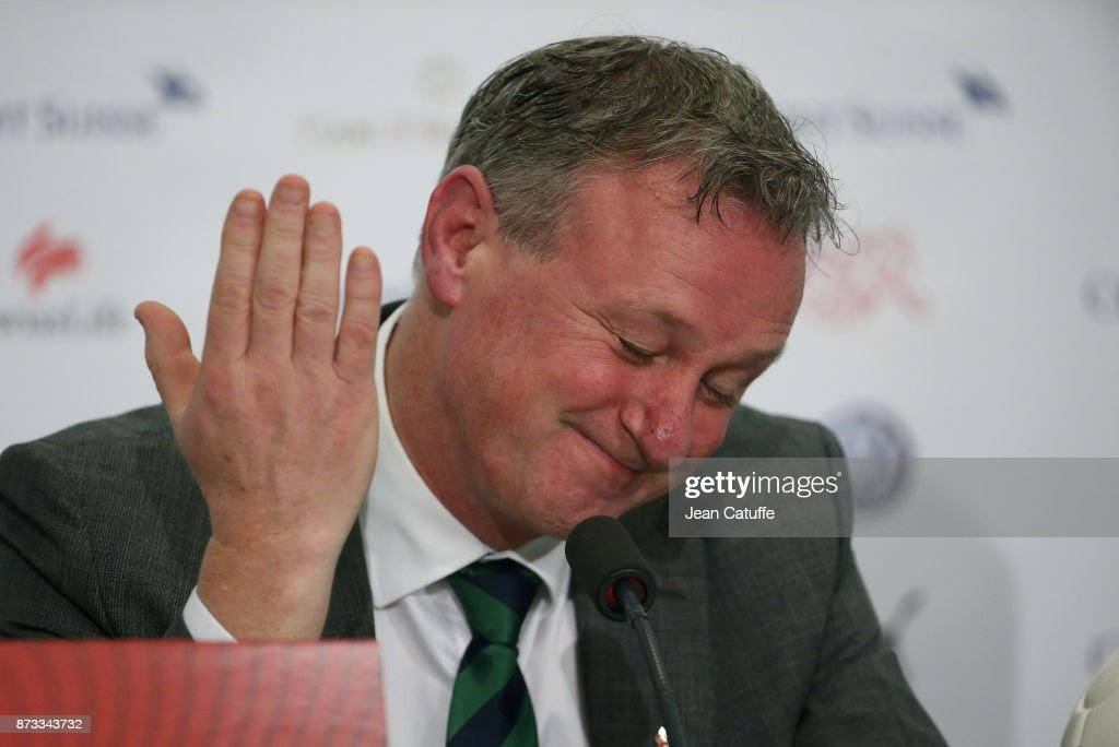 Coach of Northern Ireland Michael O'Neill answers to the media following the FIFA 2018 World Cup Qualifier Play-Off: Second Leg between Switzerland and Northern Ireland at St. Jakob-Park stadium on November 12, 2017 in Basel, Basel-Stadt, Switzerland.