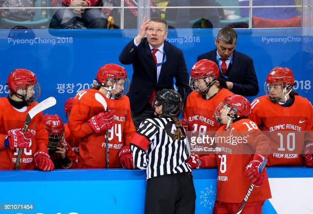 Coach of OAR Alexei Chistyakov during the women's semifinal ice hockey match between Canada and Olympic Athletes from Russia at Gangneung Hockey...