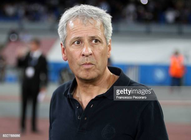Coach of OGC Nice Lucien Favre looks on during the UEFA Champions League Qualifying PlayOffs Round First Leg match between SSC Napoli and OGC Nice at...