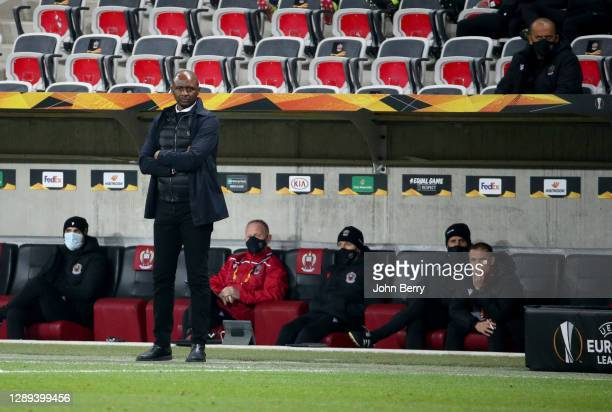 Coach of OGC Nice Patrick Vieira - who was fired few hours after this picture - and his assistant coach Adrian Ursea who is replacing him during the...