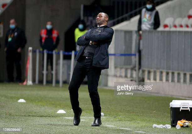 Coach of OGC Nice Patrick Vieira - who was fired few hours after this picture - during the UEFA Europa League Group C stage match between OGC Nice...
