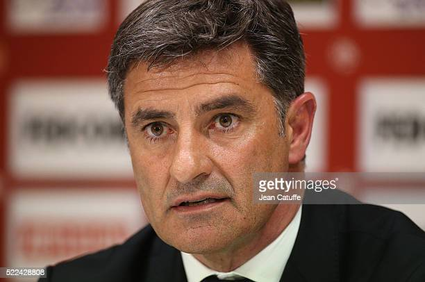 Coach of Olympique de Marseille Jose Miguel Gonzalez Martin del Campo aka Michel answers to the media during a press conference following the French...