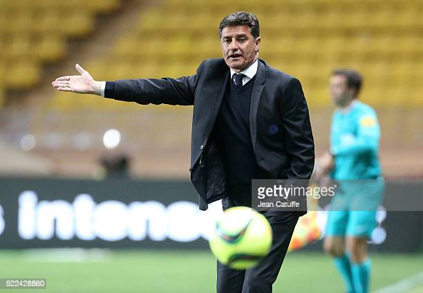 Coach of Olympique de Marseille Jose Miguel Gonzalez Martin del Campo aka Michel gestures during the French Ligue 1 match between AS Monaco and...