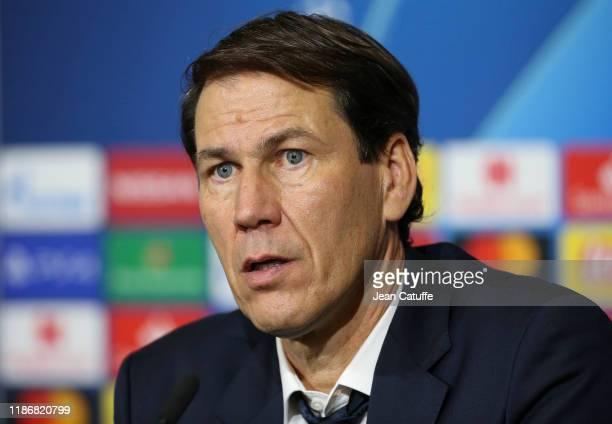 Coach of Olympique Lyonnais Rudi Garcia answers to the media during the post-match press conference following the UEFA Champions League group G match...
