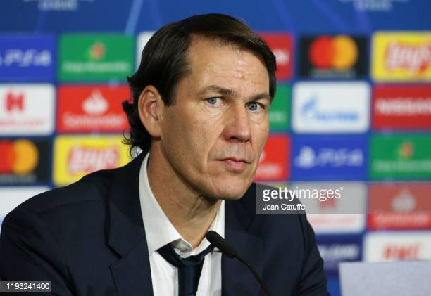 Coach of Olympique Lyonnais Rudi Garcia answers to the media during the post match press conference following the UEFA Champions League group G match...