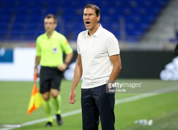 Coach of Olympique Lyonnais Rudi Garcia gives instructions during the Veolia Trophy friendly match between Olympique Lyonnais and Glasgow Rangers at...
