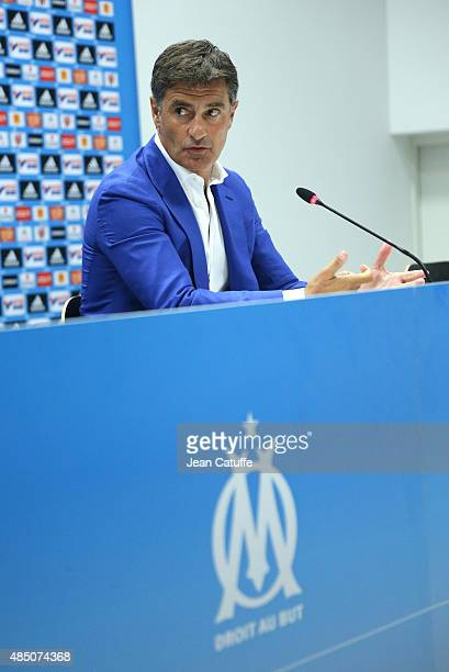 Coach of OM Jose Miguel Gonzalez Martin del Campo aka Michel answers to the media during a press conference following the French Ligue 1 match...
