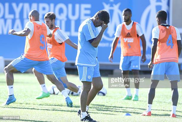 Coach of OM Jose Miguel Gonzalez Martin del Campo aka Michel directs Olympique de Marseille's training session at Robert LouisDreyfus Training Camp...