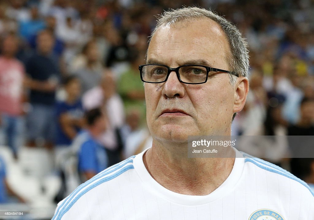Coach of OM Marcelo Bielsa looks on during the French Ligue 1 match between Olympique de Marseille (OM) and SM Caen at Stade Velodrome on August 8, 2015 in Marseille, France.