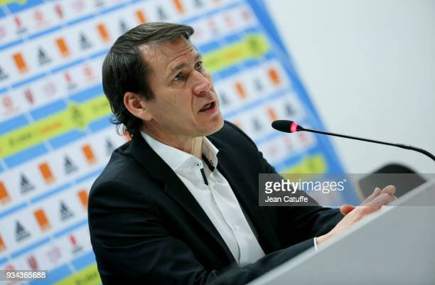 Coach of OM Rudi Garcia answers to the media following the French Ligue 1 match between Olympique de Marseille OM and Olympique Lyonnais OL at Stade...