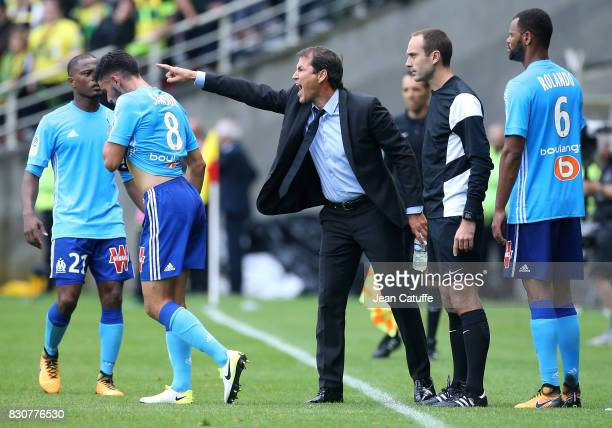 Coach of OM Rudi Garcia during the French Ligue 1 match between FC Nantes and Olympique de Marseille at Stade de la Beaujoire on August 12 2017 in...